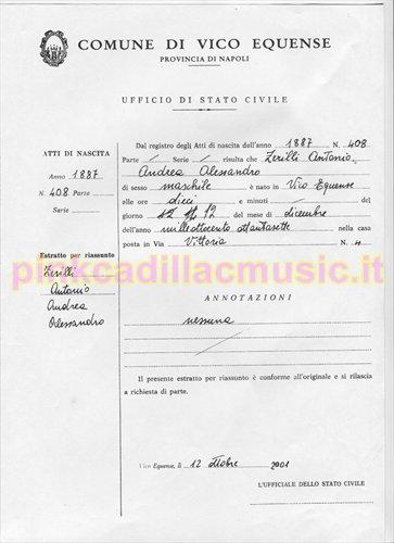Cerificato di nascita di Antonio Zerilli