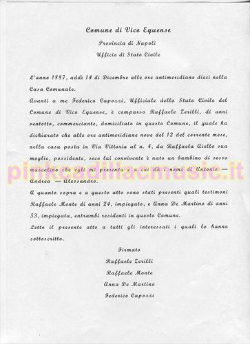 Trascrizione del certificato di nascita di Antonio Zerilli