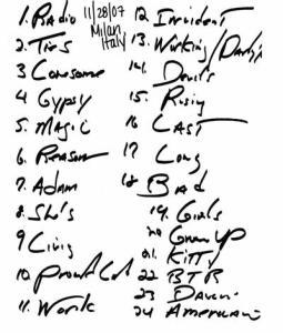 setlist2007-11-28-Milan