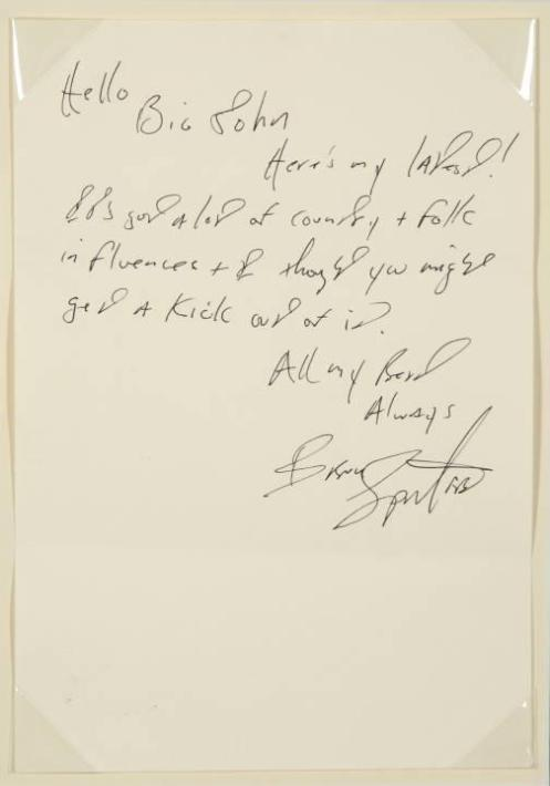 JOHNNY CASH LETTER FROM BRUCE SPRINGSTEEN