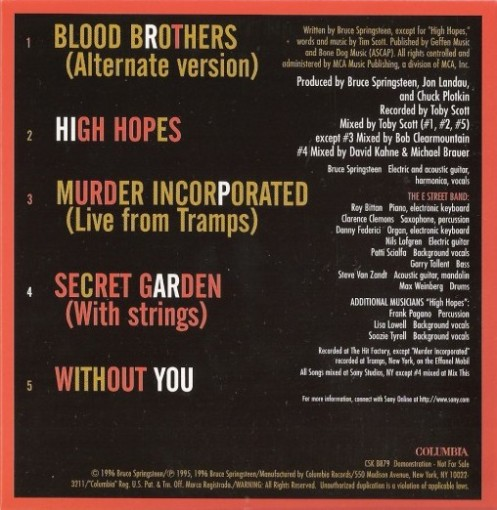 "Extended Plays (EP) ""Blood Brothers"" cd allegato al film-documentary Blood Brothers in VHS - 19 novembre 1996 - Etichetta: Columbia"