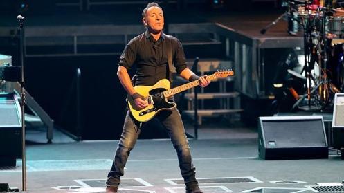 Bruce Springsteen belts it out alongside long-time guitarist Steve Van Zandt at the Adelaide Entertainment Centre. Picture: Simon Cross.
