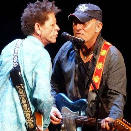 Bruce Springsteen and Blondie Chaplin at Brian Wilson's show in Holmdel, NJ